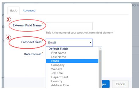 既存フォームの項目(②)とPardotの項目(③)を指定
