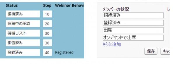 (左)Marketo:管理画面 > タグ > チャネル (右)Saleforce:キャンペーン詳細画面 > 高度な設定